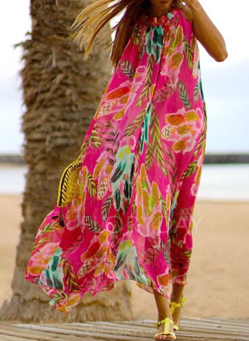 Dress - $45.99 - Chiffon Floral Sleeveless Maxi Shift Dress (1955298066)