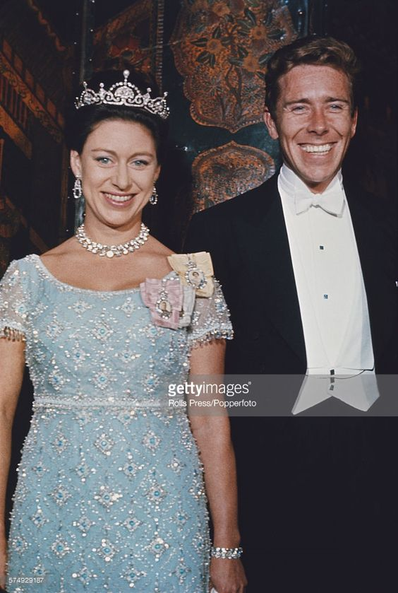 Princess Margaret, Countess of Snowdon (1930-2002) posed, wearing a tiara, with her husband, Antony Armstrong-Jones, 1st Earl of Snowdon at a ball in Washington DC, United States in November 1965.