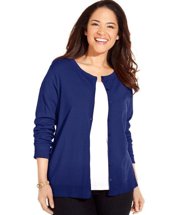 August Silk Plus Size Long-Sleeve Silk-Blend Cardigan