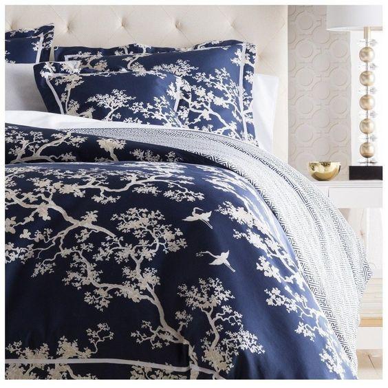 Navy Blue Branch Duvet Bedding Set Oriental Products
