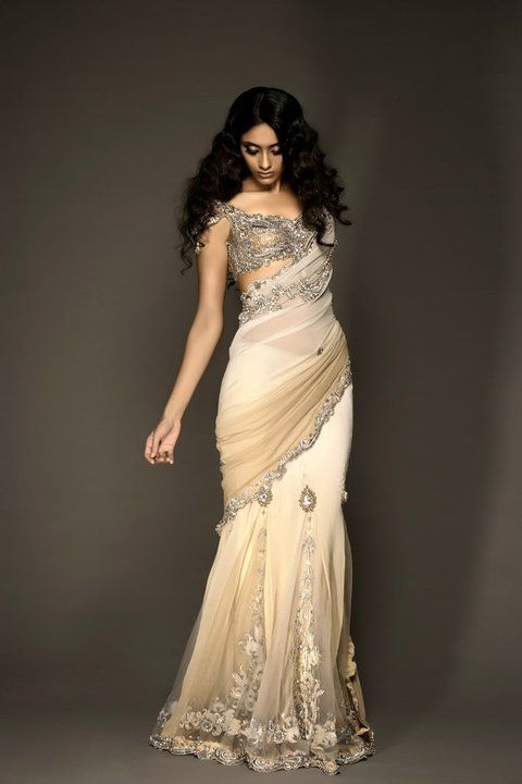 Off white embroidered Saree fro bridal