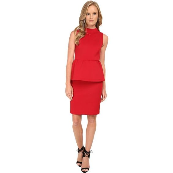 Shoshanna Dahlia Dress Women's Dress, Red ($150) ❤ liked on Polyvore featuring dresses, red, straight dress, sleeveless peplum dress, sleeveless pencil dress, sleeveless fitted dress and mock neck dress