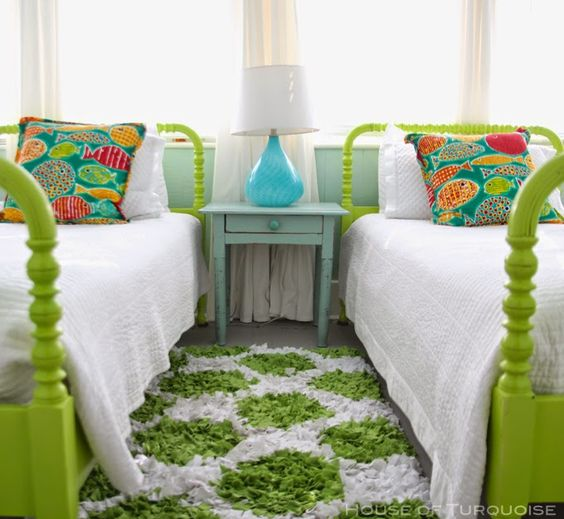 Painted twin beds bright green via house of turquoise for Bright green bedroom ideas