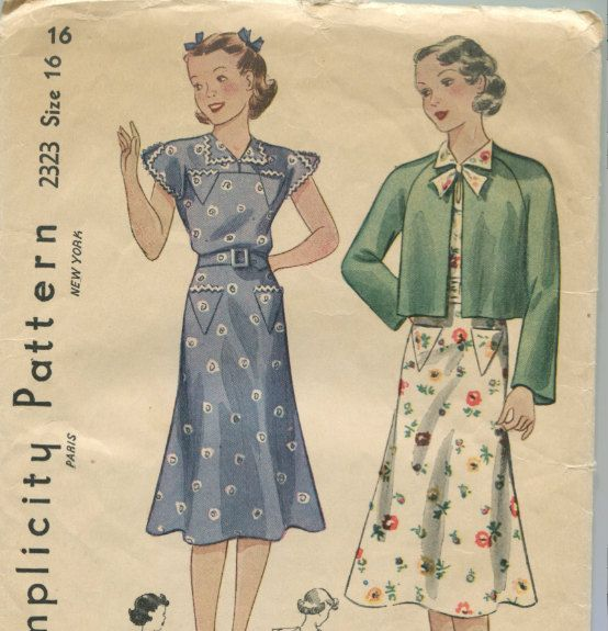 """Vintage Sewing Pattern Ladies Backless Dress and Jacket 1930's 34"""" Bust Simplicity 2323. $29.00, via Etsy."""