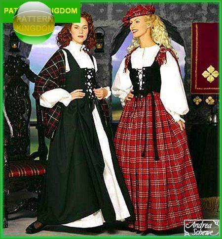 Medieval Celtic/Scottish Lass Bodice Skirt Blouse