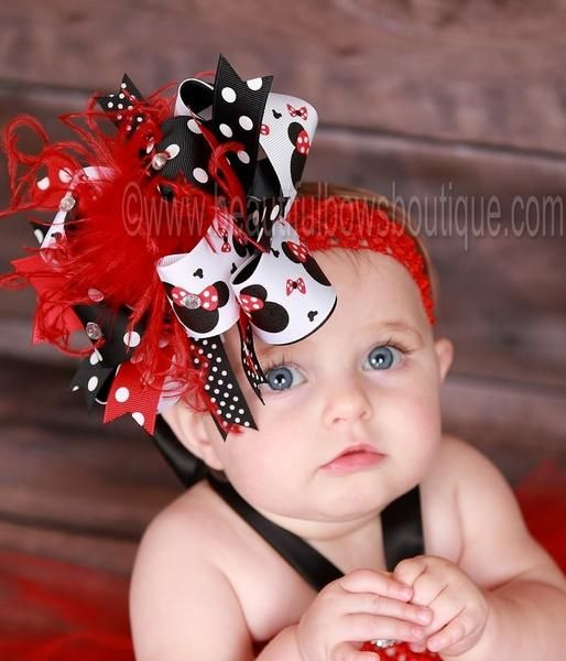 Set Of 3 Minnie Mouse Bow-Bands Toddler Bow Baby Girl Bow Headband Toddler Headband Bow Headband
