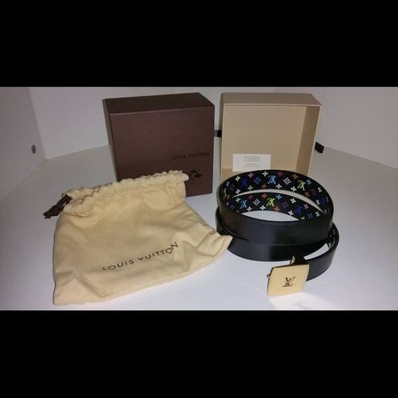 Like New Women's LV Cut Monogram Reversible Belt For sale is a like new Louis Vuitton LV Cut Monogram Multicolore Reversible Belt for women (model M6890X). Its length is 75cm (29.5 inches). It has been kept in the box and is in perfect condition. Will provide proof of purchase for serious inquiries only. Retail is $490. $460 firm cash only. Thanks! Louis Vuitton Accessories Belts