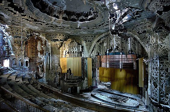 United Artists Theater, Detroit.  This spectacular Spanish Gothic theater, built in 1928, was closed in the 1970s.  by Yves Marchand and Romain Meffre