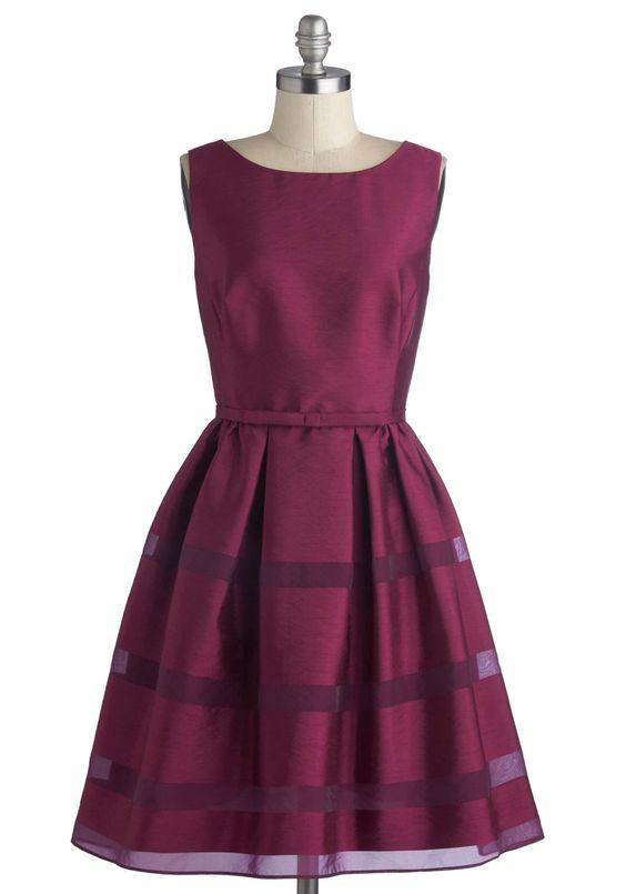 love V back and sheer stripes in skirt - Dinner Party Darling Dress in Plum | Mod Retro Vintage Dresses | ModCloth.com