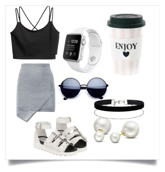 """White, black and gray"" by dashabileski ❤ liked on Polyvore featuring Allurez and Miss Selfridge"