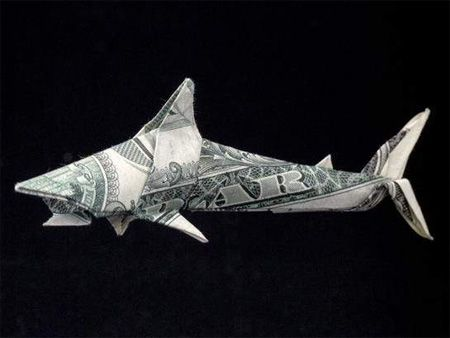 Origami Shark from One dollar bill:
