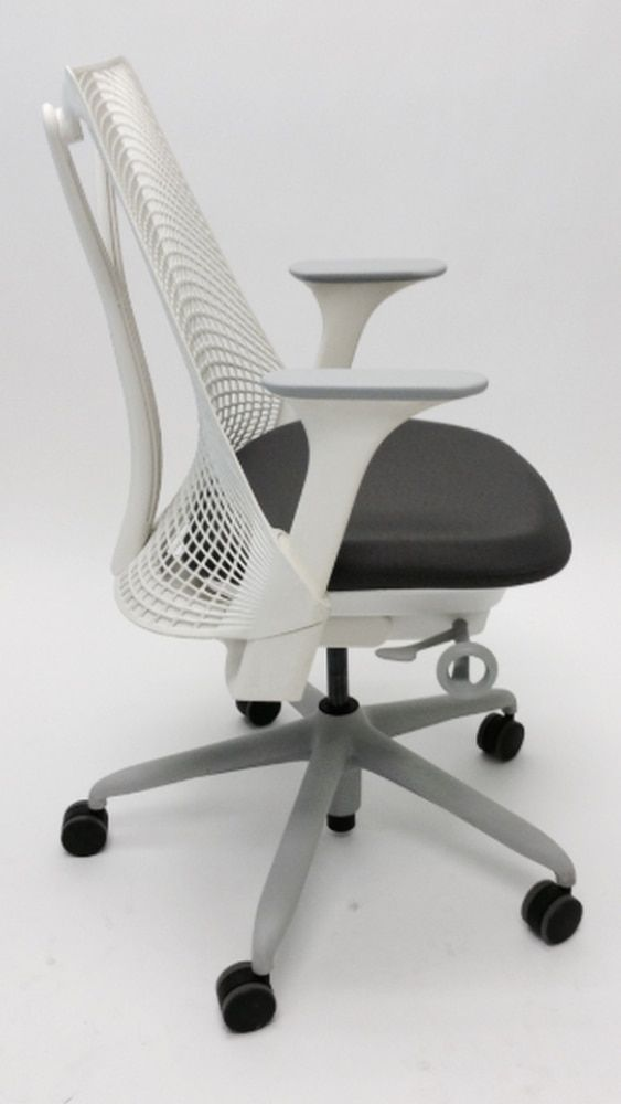 Herman Miller Sayl Chair White Back And Frame And Black Leather Seat Sayl Chair Black Leather Seating Leather Seat