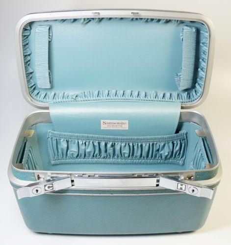 vintage 1960s samsonite silhouette train vanity case turquoise blue ebay vanity cases. Black Bedroom Furniture Sets. Home Design Ideas