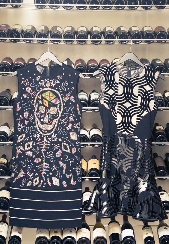 """[The skull collecting] started the first time I saw a sparkly skull – there was something edgy yet pretty about it. But I am specific about the proportions – they have to be happy skulls.""  L to R. Dresses, Libertine, David Koma"