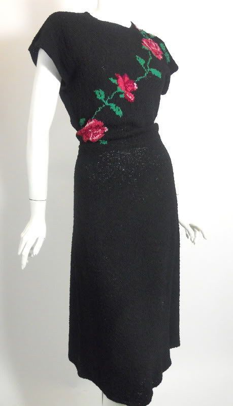 Black Silk Knit Dress with Roses circa 1940s