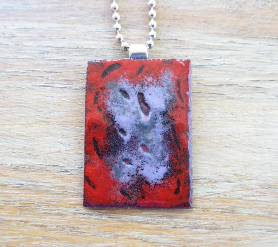 Simple Rectangle Abstract Enamel Pendant Red by fitzidesigns