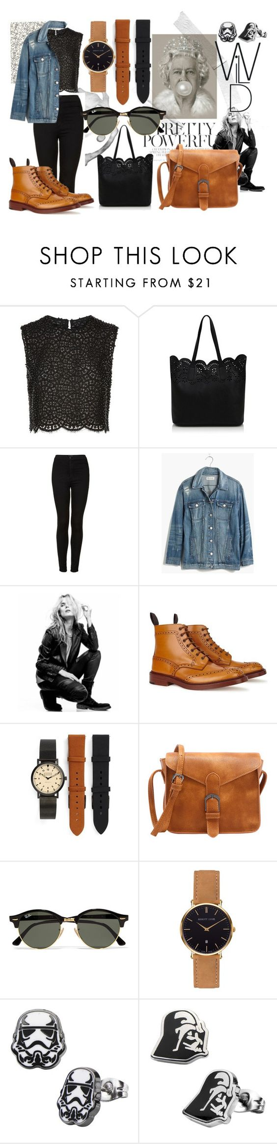 """""""rock save the queen"""" by laura-gd ❤ liked on Polyvore featuring Costarellos, George, Topshop, Madewell, Superfine, Shore Projects, Ray-Ban and Abbott Lyon"""