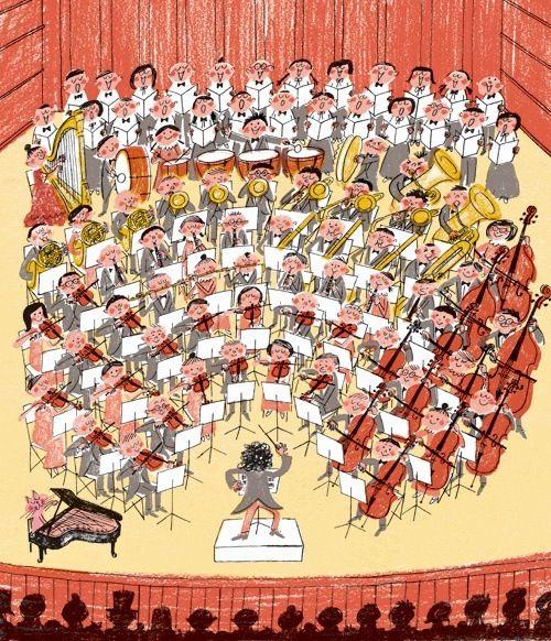 Risultati immagini per orchestra che suona illustration