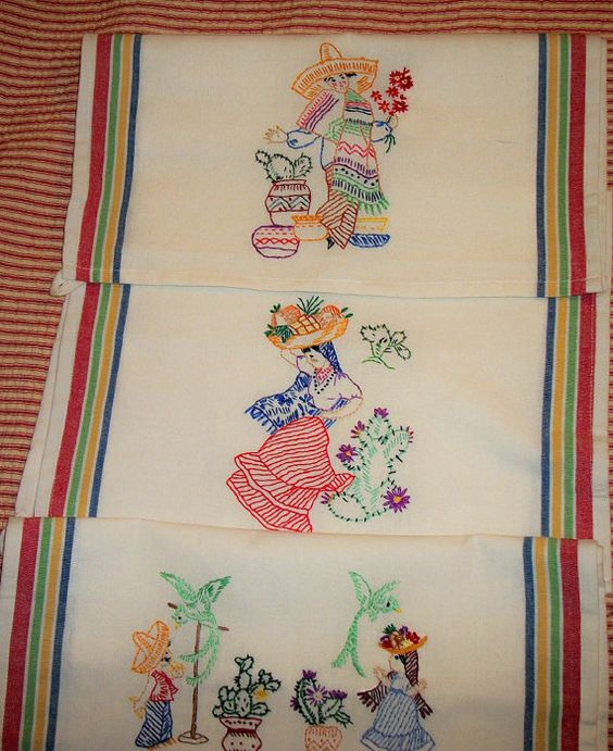 Hand Embroidered Dish Towels Set Of Three Mexican Motif By