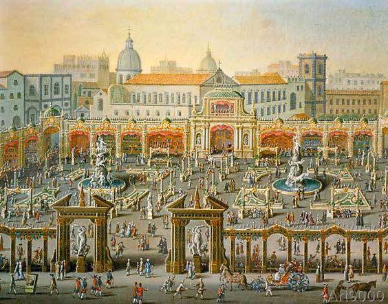 Antonio+Joli+-+Neapel,Jahrmarkt+v.d.Palazzo+Reale/Joli
