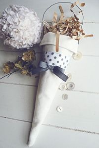 Shabby chic fabric cone by Blanc & Caramel