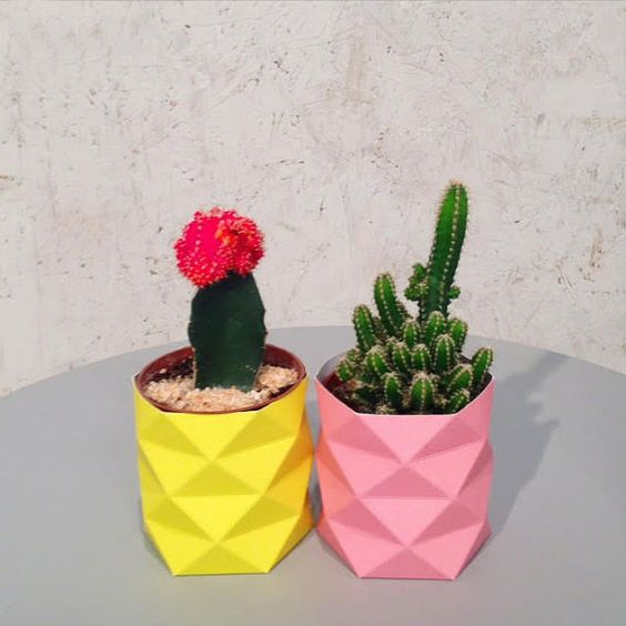 origami paper cactus planter holiday gifts geometric succulent planter diy origami cactus pot. Black Bedroom Furniture Sets. Home Design Ideas