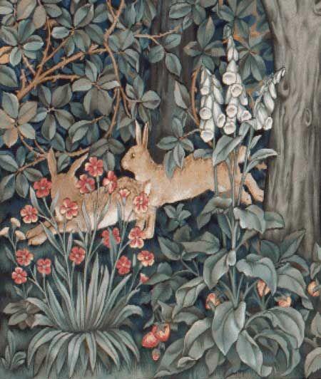 Scarlet Quince cross stitch chart: Greenery (Rabbits) - John Henry Dearle
