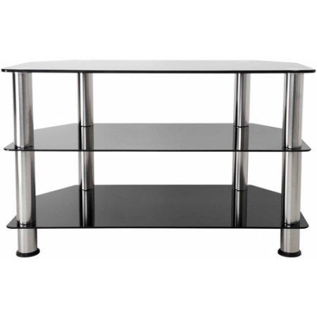 AVF Black Glass Floor Stand with Chrome Legs for TVs up to 40 inch