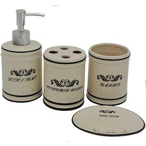 Set de accesorios para cuarto de baño de porcelana beige con textos de 25x20x8.5cm