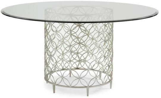 Round Dining Table With Metal Base 60 Diameter Beleved Glass Top