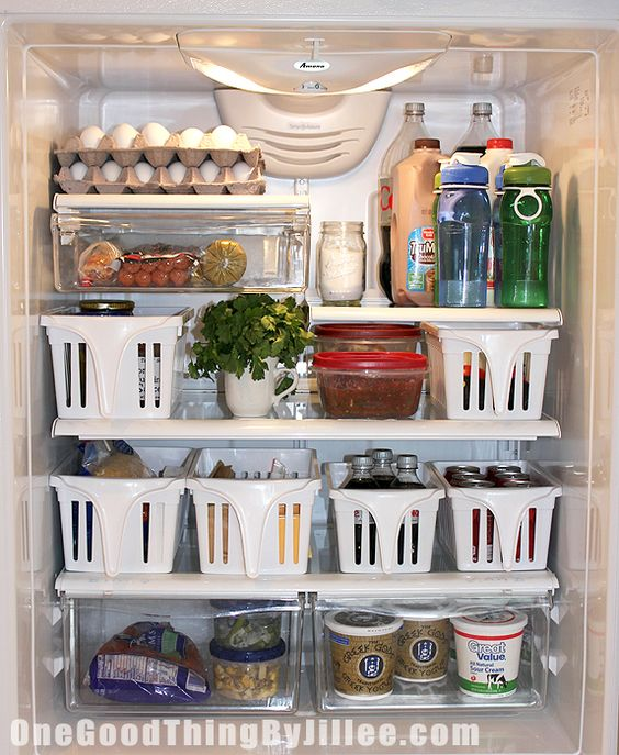 """DO - Organize the Refrigerator - I was hoping this would help our produce overflow - and it does!!  I didn't need as many baskets as this pic.  Used a """"condiment"""" basket, one for butter and jelly, etc.  Then three baskets for produce.  Looks really good - and I have what seems like twice the fridge space."""