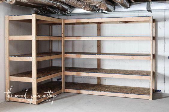 Diy Basement Shelving The Wood Grain Cottage Thebasement Avec Images Rangement Au Sous Sol Piece De Rangement Agencement Garage