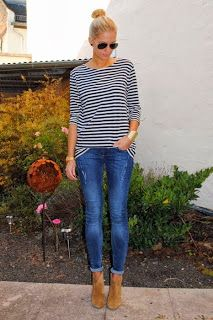 """Nice things!: The """"I don't know what to wear tomorrow"""" weather is here part 2 -   The mariniere #mariniere #stripedblouze #fallfashion #streetstyle"""