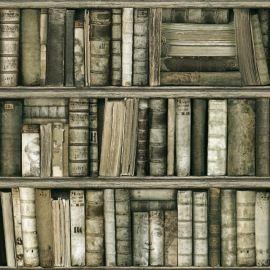Papier peint vinyle sur intissé effet bibliothèque antique