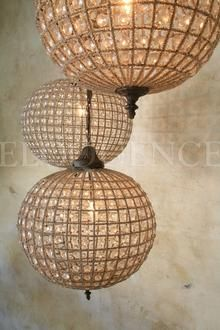 """Small Beaded Globe Chandelier, I put these into my kitchen in a """"Dream Home"""" assignment in my space planning class. I like fantastic lighting over the kitchen island."""