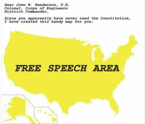 To the Corp of Engineers -- ALL of USA is Free Speech Area. #nodapl