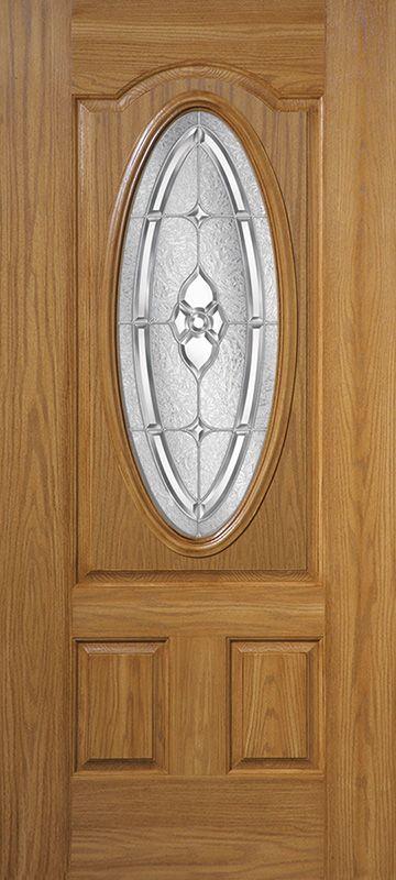 Masonite - Belleville textured oak fiberglass door - Georgian™ glass insert.