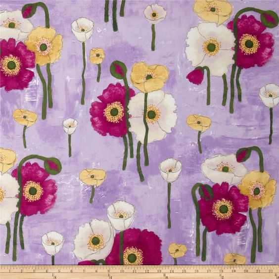 Michael Miller Vignette Gathered Poppies Orchid from @fabricdotcom  Designed by Laura Gunn for Michael Miller, this cotton print fabric is perfect for quilting, apparel and home decor accents. Colors include black, tan, yellow, white, shades of purple, shades of green, and shades of pink.