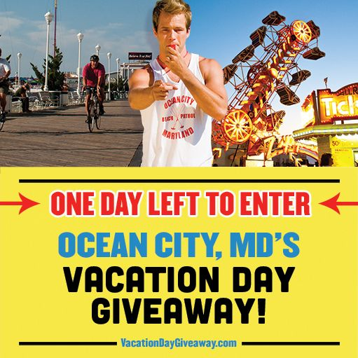 REMINDER: Tomorrow is the last day to enter our Vacation Day Giveaway! Enter now at http://VacationDayGiveaway.com/ #ocmd #oceancity #vacation #vacationdaygiveaway #giveaway #oceancitymd #oceancitymaryland #maryland #ocean #city