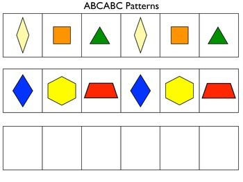 Printable patterning mats for linking cubes and pattern blocks - includes AB, ABB, and ABC patterns.  Easy math center for Pre-K or K!