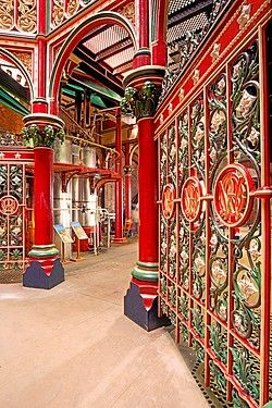 The ornate interior of the Victorian era Crossness Pumping station in East…