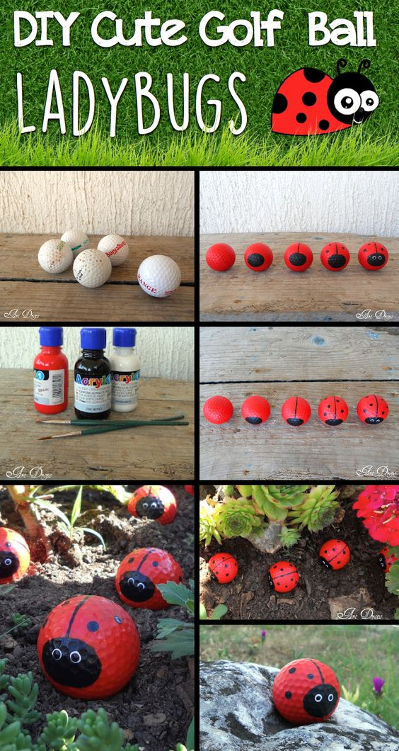 DIY Cute Golf Ball Ladybugs - Click on the picture to see the full tutorial!