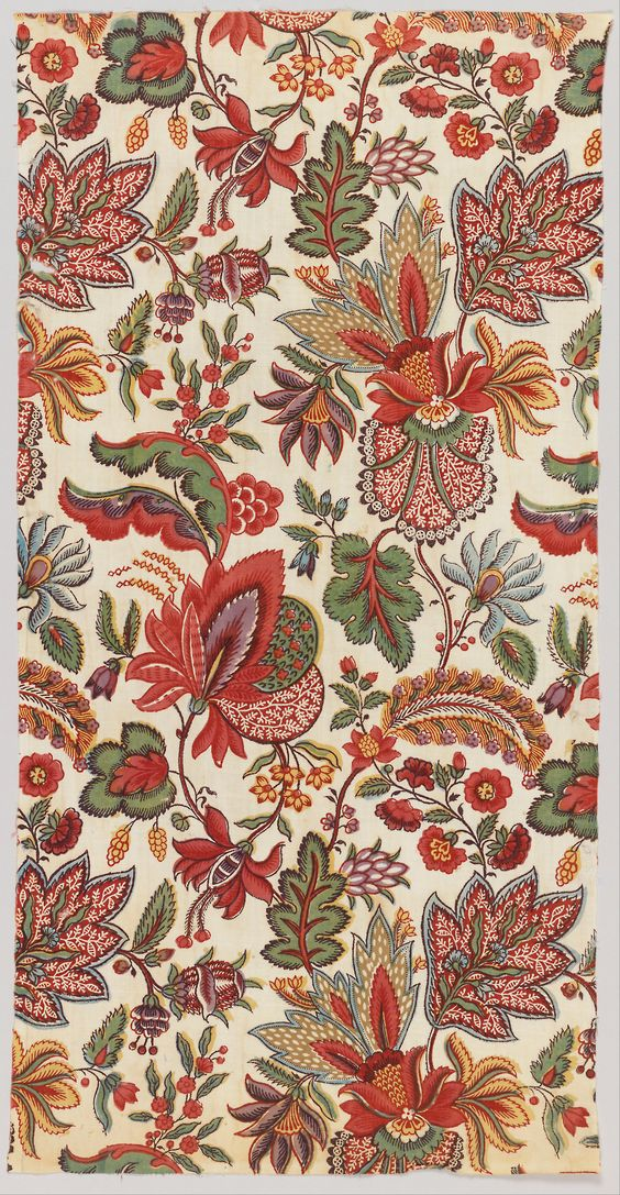 Textile (late 18th century) block printed. Cooper–Hewitt, National Design Museum: