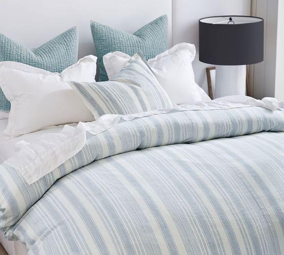 Hawthorn Stripe Cotton Duvet Cover Shams Blue In 2020 Light Blue Bedding Cotton Duvet Cover Blue Duvet Cover