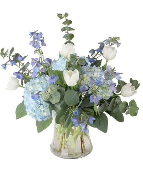 December Birthstone Collection Flower Arrangements Floral Centerpieces Shades Of Light Blue