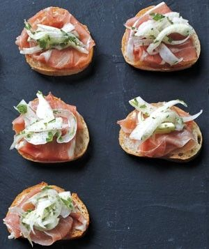 Hors d'oeuvres - prosciutto crostini with lemmony fennel slaw by clairee