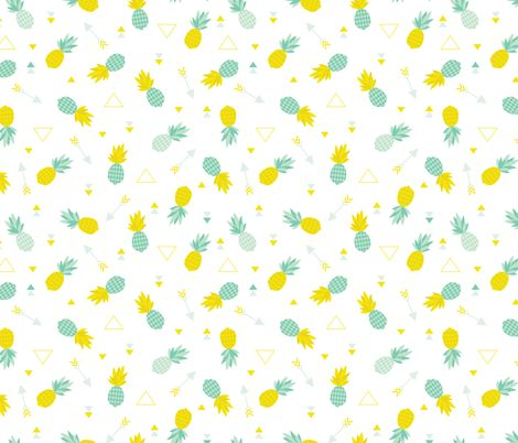 Cute Baby Fabric Prints Of Cute Geometric Pineapple And Indian Summer Arrows And