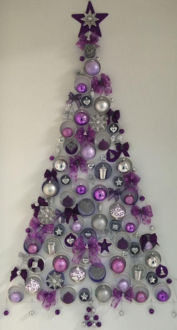 Rbol de navidad en pared morado mis manualidades - Arbol de navidad para pared ...