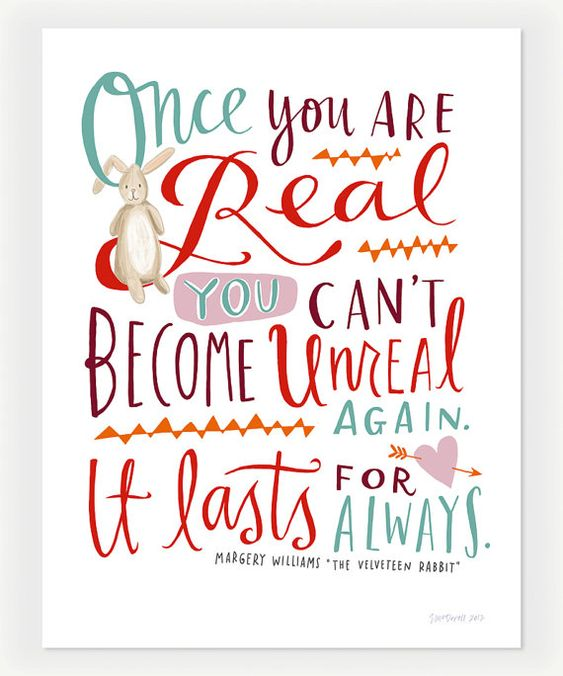 Emily McDowell print for @Design Mom, quote from The Velveteen Rabbit.
