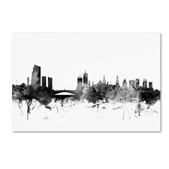 Michael Tompsett 'Leeds England Skyline B&w' Canvas Art